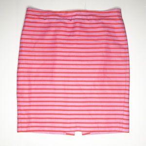 J. Crew pink orange stripe pencil skirt 10